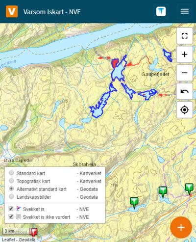 Et skjermbilde fra websiden Iskart.no. Bildet viser valgene for bakgrunnskart. Klikk og velg nytt aktivt bakgrunnskart, og skru av eller på svekket is bakgrunnskart. Her er et eksempel med Geodata bakgrunnskart.
