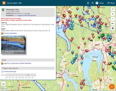 Et skjermbilde fra websiden Iskart.no. Bildet viser et eksempel på en åpnet isobservasjon.