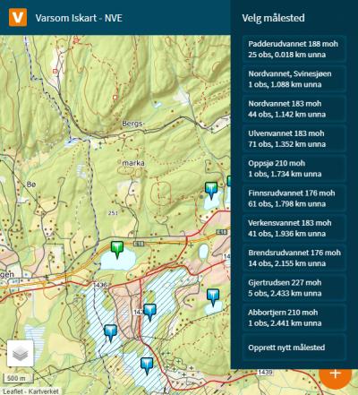 Et skjermbilde fra websiden Iskart.no. Bildet viser en liste over nærliggende stasjoner som du kan velge blandt, eller klikke på nytt målested..