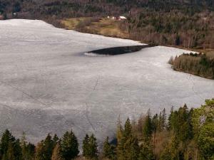 Bildet viser et islagt vann med en uvanlig stor innløpsråk. Men ellers er det islagt, så vi setter isdekningen til helt islagt på målestedet.
