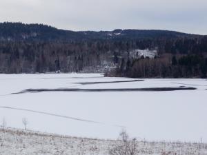 Bildet viser et vann under islegging, men ennå er det åpne områder, så vi setter isdekning til delvis islagt på målestedet