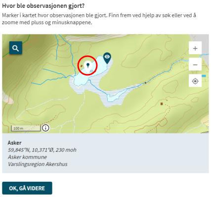 Et skjermbilde fra websiden Regobs.no. Bildet viser hvordan man flytter en observasjon til et annet eksisterende målested.