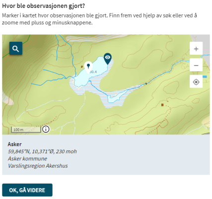 Et skjermbilde fra websiden Regobs.no. Bildet viser hvordan man kan klikke i kartet og velge et nytt målested for isobservasjonen.