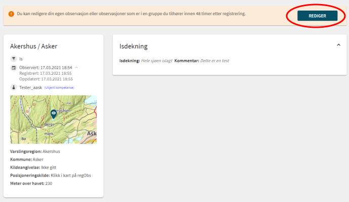 Et skjermbilde fra websiden Regobs.no. Bildet viser hvordan man kan aktivere redigering av en gammel observasjon dersom man har tillatelse til det.