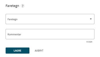 Et skjermbilde fra websiden Regobs.no. Bildet viser hva man fyller ut under faretegn.