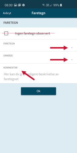 Et skjermbilde fra mobil på appen Varsom Regob. Bildet viser med hvordan man velger type faretegn, område det gjelder for, og kommentar.