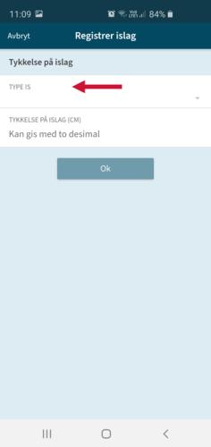 Et skjermbilde fra mobil på appen Varsom Regob. Bildet viser med piler hvordan man setter en istype i et islag under istykkelse.
