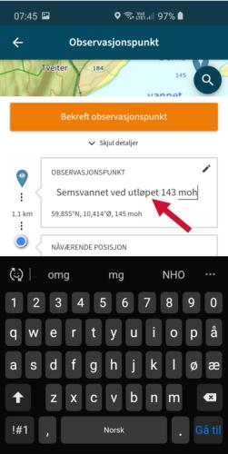 Et skjermbilde fra mobil på appen Varsom Regob. Bildet viser steg to i navnsetting av et målested.