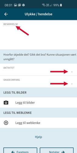 Et skjermbilde fra mobil på appen Varsom Regob. Bildet viser med piler hvordan man setter en isulykke med beskrivelse, aktivitet og skadeomfang.