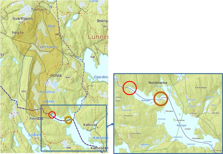 Bildet viser svake områder på isen som man kan forutse ved å studere et kart, slik som innløp, utløp og trange sund, og mengde vann som trolig strømmer gjennom vannet.