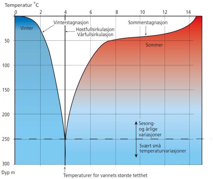 Figuren viser hvordan vanntemperaturen i en innsjø varierer gjennom året.