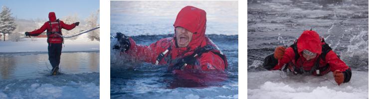 Tre bilder fra en NVE-øvelse om sikkerhet på is. Bildene viser en som går gjennom isen, snur seg, og tar seg opp med ispiggene.