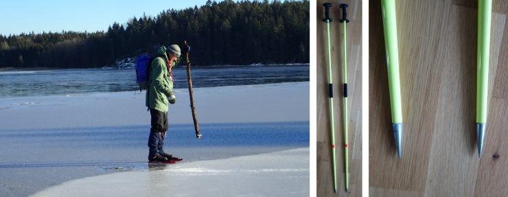 To bilder, ett som viser en som bruker en trestokk til å sjekke bæreevnen på isen med kraftige dunk. Det andre bildet viser tuppen av en moderne isstav.